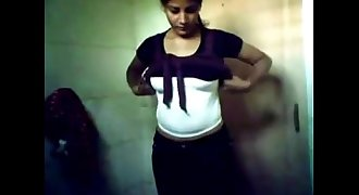 indian Chandigarh college teen young body self records in Bathroom for me MMS