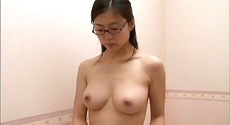 Office lady trying out hooter-sling after work