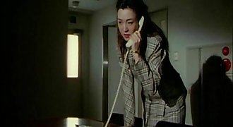 Sexy Japanese woman tied to a stool gets fucked from behind